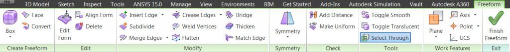 Barra herramientas freeform