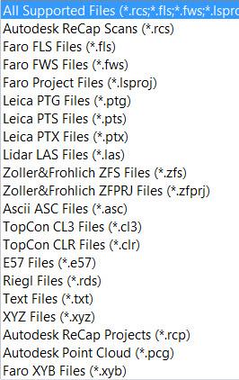 Formatos que puede importar Autodesk ReCap