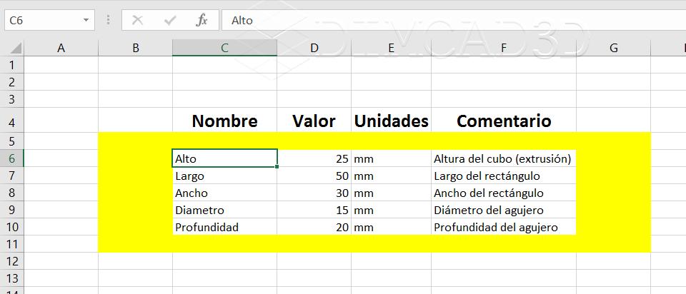 Hoja Excel con parametros