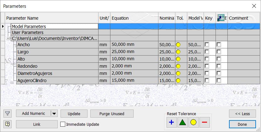 Parámetros importados desde otro archivo