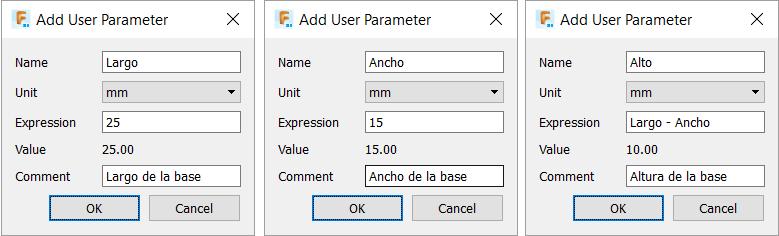 Crear parametros